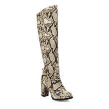 JK Kleurrijke Snake Huid Laarzen Vrouwen Knie Hoge Laars Dames Ronde Neus Schoenen Vrouwelijke Zip Hoge Hakken Schoenen Sxey Schoenen winter 2020 Nieuwe(China)