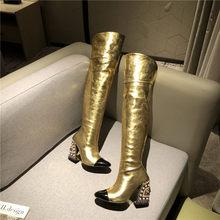 FEDONAS mode femmes Sexy sur le genou bottes hautes strass chaussures de fête femme chaud Long hiver serré bottes hautes chaussures(China)