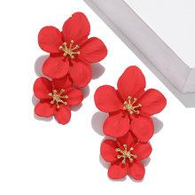 Estilo coreano linda flor pendientes de broche para las mujeres 2018 nuevos pendientes dulces de moda Femme Brinco joyería al por mayor(China)