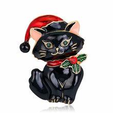 Natal Kucing Bros Retro Lucu Merah Topi Anak Kucing Bros Pin Wanita Pria Pesta Perjamuan Korsase Perhiasan Hadiah(China)