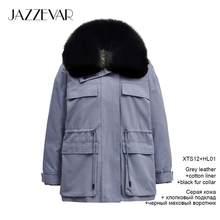 Jazzevar 2019 inverno nova chegada inverno mulheres casaco de alta qualidade com uma gola de pele solta roupas outerwear moda parka feminino k(China)