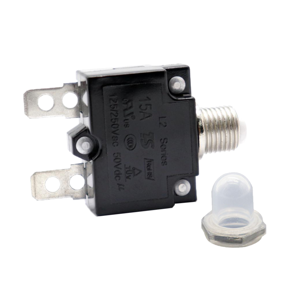 2pcs 50VDC/ AC125-250V 15 Amp 20 Amp Push Reset Button Circuit Breaker Thermal Overload Protector