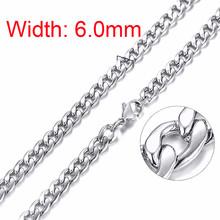 Srebrne kwadratowe pudełko Link i wlewki łańcuszkowy naszyjnik dla mężczyzn naszyjnik choker ze stali nierdzewnej o szerokości 21-24 cali (2.1mm-5mm)(China)