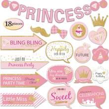 Nicro 18 قطعة/المجموعة الوردي الذهب بريق الفتيات الأميرة كابينة تصوير الدعائم استحمام الطفل حفلة عيد ميلاد لوازم الديكور # Set138(China)