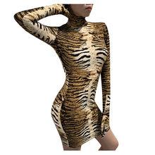 Bodysuits Sexy cuello redondo estampado de leopardo sin mangas con guantes Bobysuits Leopard Bodysuit Body Mujer(China)