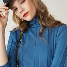 2019 Gugur Musim Dingin Baru Women'sturtleneck Sweater Wanita Lengan Panjang Pullover Warna Solid Paragraf Pendek Liar Kemeja(China)