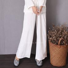 Linho de algodão tradicional chinês topos para as mulheres do vintage tang terno tai chi uniforme manga longa jaqueta calças kungfu terno(China)