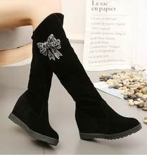 Mùa Đông Giày Nữ Giày Nữ Giày Đầu Gối Giày Cao Cổ Mùa Đông 2019 Mới Đính Kim Cương Giả Hoang Dã Plus Nhung Dày Ủng x85(China)