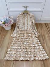Truevoker, Осеннее дизайнерское платье для подиума, женское платье с длинными рукавами, плиссированное многослойное платье, до середины икры, Се...(China)