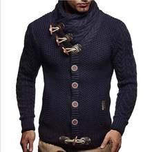 스웨터 풀오버 남자 남성 브랜드 캐주얼 슬림 스웨터 남자 뿔 버클 두꺼운 헤지 터틀넥 남자 스웨터(China)