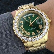 Grand diamant de luxe marque or montre hommes en acier inoxydable jour-date montre pour homme président Top mâle horloge pour relogio masculino(China)
