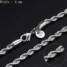 16-30 cali moda posrebrzane łańcuch Figaro łańcuszki na szyję Twist ograniczenia naszyjniki dla mężczyzn kobiety długi łańcuch naszyjniki partii hurtowych(China)