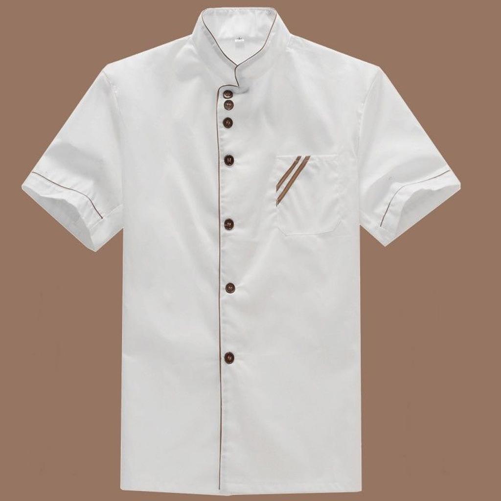 Men Women Short Sleeve Chefs Uniforms,  Restaurant Chef Jacket Kitchen Coat Tops - Stand up Collar