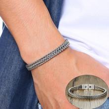Vnox vintage legal duplo curb chain pulseiras para homens prata aço inoxidável punk cúbico corrente masculino pulseira(China)