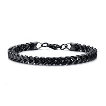 """Double Rope Chain Mens Stainless Steel Bracelet Silver Polish Color Punk Biker Pulseira Masculina Jewelry 8.3""""(China)"""