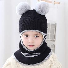 아기 모자 소녀 모자 가을과 겨울 남성 아기 따뜻한 모자 어린이 windproof 한 니트 모자 양모 모자 턱 받이 아기 스웨터 모자(China)