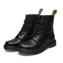 Giày Bốt nữ Da Thật Chính Hãng Da Mắt Cá Chân Martens Giày Cho Nữ Lông Ấm Áp Mùa Đông Cặp Đôi Giày Casual Tiến Sĩ Xe Máy Giày Zapatos Mujer(China)