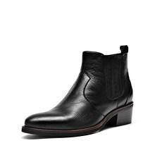BeauToday Chelsea Çizmeler Kadın Hakiki Inek Deri Yuvarlak Ayak Elastik Bant İngiliz Bayan yarım çizmeler Kış Ayakkabı El Yapımı 03286(China)