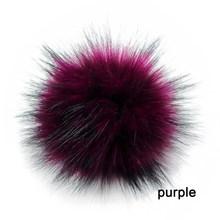 Diy 1 pc 10 cm/3.9 Polegada falso pele de raposa pompons bola para tricô chapéus acessórios chaveiro cachecol pom(China)