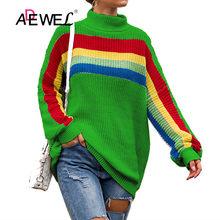 ADEWEL קשת צבע פס ארוך שרוולים עם צווארון גבוהה לסרוג סוודר סוודרים נשים 2019 חם גולף התיכון גיל נשים חולצות(China)