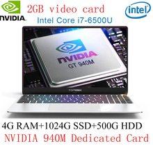 """4G RAM DDR4 1 تيرا بايت SSD 15.6 """"كمبيوتر محمول الروسية Win10/ليزر الخلفية لوحة المفاتيح إنتل i7-6500U NVIDIA 940 متر بطاقة مخصصة قذيفة معدنية(China)"""