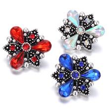 6 Pcs/lot Wholesale Snap Tombol Perhiasan Dicampur Crystal Rhinestone Cross Pohon Bunga 18 Mm Snap Tombol untuk Snap Gelang Gelang(China)