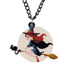Bonsny acrylique Halloween Anime lune sorcière collier longue chaîne Choker mode ronde bijoux femmes enfant fille charme cadeau décoration(China)