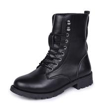 WENYUJH tıknaz motosiklet botları kadın sonbahar yuvarlak ayak dantel-up siyah çizmeler ayakkabı sokak açık stil kızlar yüksek tüp çizmeler(China)