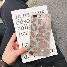 Lábio transparente caso de telefone para iphone 11 pro max xr xs max 7 8 plus x claro macio galvanizado lado duro volta capa(China)
