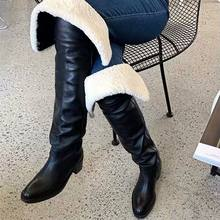 2020 yeni kadın uyluk yüksek çizmeler tıknaz yüksek topuk diz çizmeler bayanlar kış sıcak kar botu uzun Botas Mujer(China)