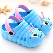 בעלי החיים הדפסי בני קיד פעוטות ילדה חמוד קריקטורה החלקה החוף להעיף נעלי נעלי תינוקות קריקטורה שטוח עקבים מוצק תינוק נעל 70(China)