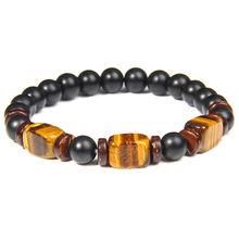 Bracelet en pierre oeil de tigre bleu Royal pour hommes Design Unique pépite jaune œil de tigre charme en bois noir mat perles de verre Bracelets(China)
