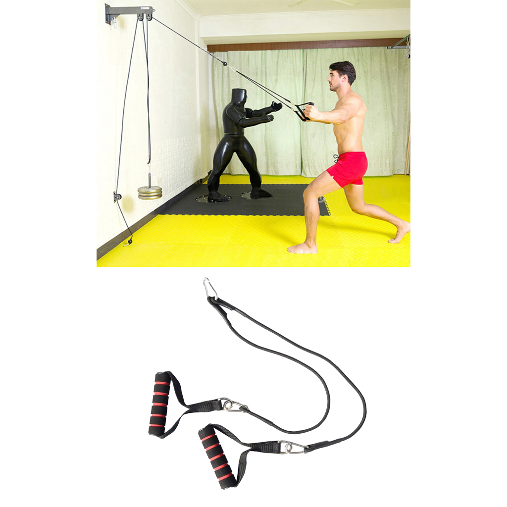 Home Pulley Cable Machine System - DIY Pull Handle Chest Training Strap Rope Hooks Kit Home Workout Gym Fitness Equipment