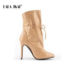 LALA IKAI 2020 yeni seksi kadın yüksek topuklu çizmeler bahar Pu deri ayakkabı kadın ince topuklu sivri burun parti yarım çizmeler c5563-4(China)