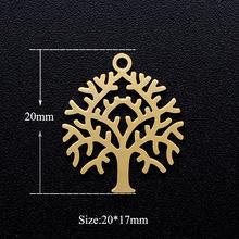5 pçs/lote Árvore da Vida Encantos DIY Atacado 100% Árvores Genealógicas Conectores Charme Jóias Pingente de Colar de Coração de Aço Inoxidável(China)