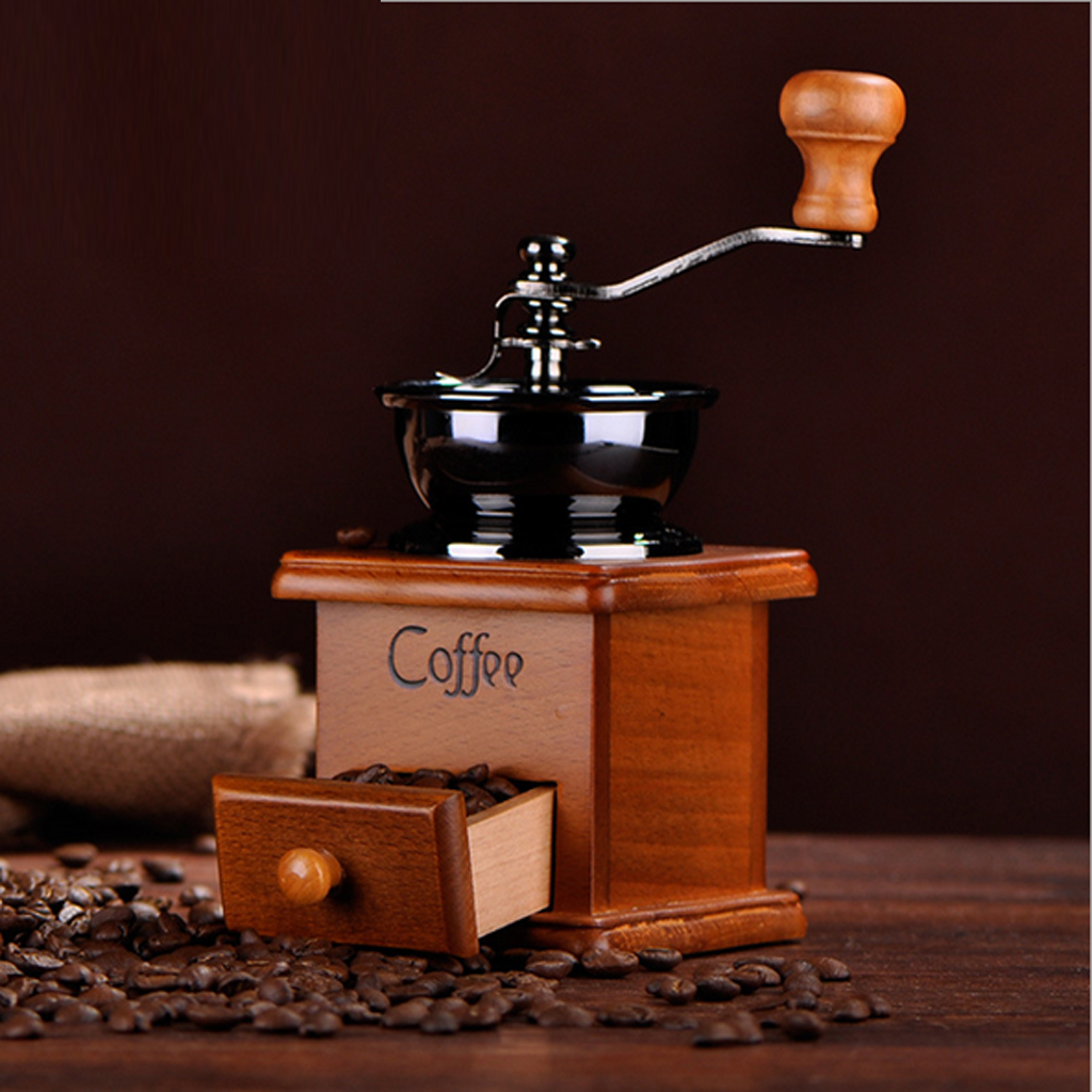 Retro Stainless Ceramic Manual Coffee Bean Grinder Nut Mill Hand Grinding