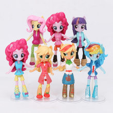 Conjunto My Little Pony Brinquedos Mini Ação PVC Figures Set Rainbow Dash Pônei Twilight Sparkle Apple Jack Pico do Dragão bonecas(China)