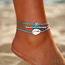 אם לי בוהמי כוכב ים חרוזים אבן Anklets לנשים BOHO כסף צבע שרשרת צמיד על רגל חוף קרסול תכשיטי 2018 חדש מתנות(China)