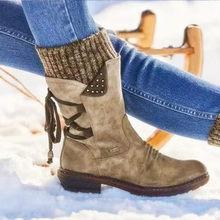Sıcak kadın botları 2019 sonbahar kış Vintage düz dantel kadar dropshipping ayakkabı kar botları örgü Patchwork kadın orta buzağı botları(China)
