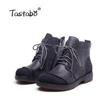 Tastabo hakiki deri el yapımı kadın çıplak botlar yumuşak tabanlı ayakkabı vahşi Martin çizmeler gri kahverengi S518-2 düşük topuk kadın botları(China)