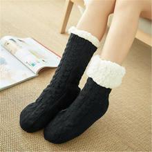 Kış Isıtıcı Kadınlar Kalınlaşmak Termal Yün Kaşmir Kar Çorap Dikişsiz Terry Botları Kat Uyku Çorap için(China)