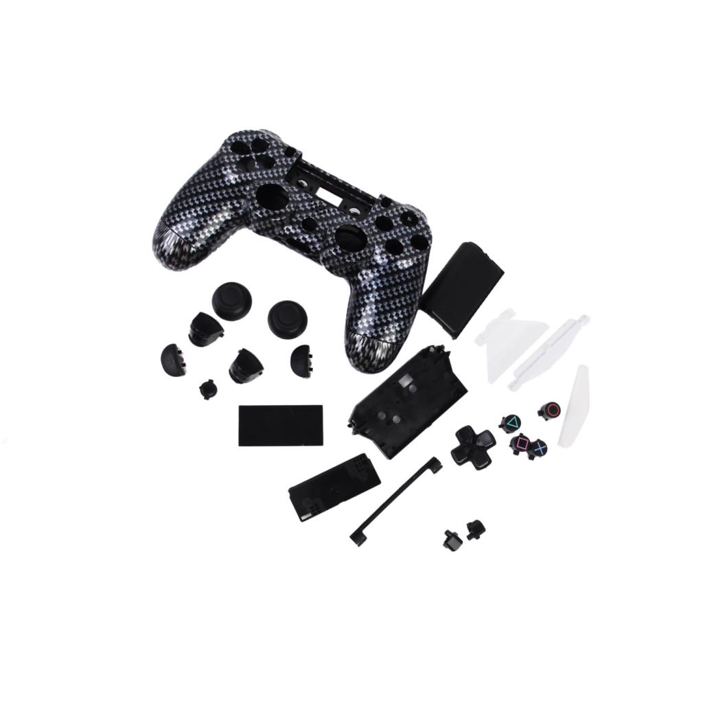 Replacement Full Housing Shell Case Cover with Buttons Mod Kit for PlayStation4 PS4 Wireless Controller Black