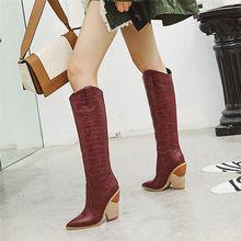 Odetina Nieuwe Vrouwen Krokodillenleer Dikke Chunky Vreemde Hoge Hak Western Cowboy Laarzen Pull On Puntschoen Winter schoenen(China)