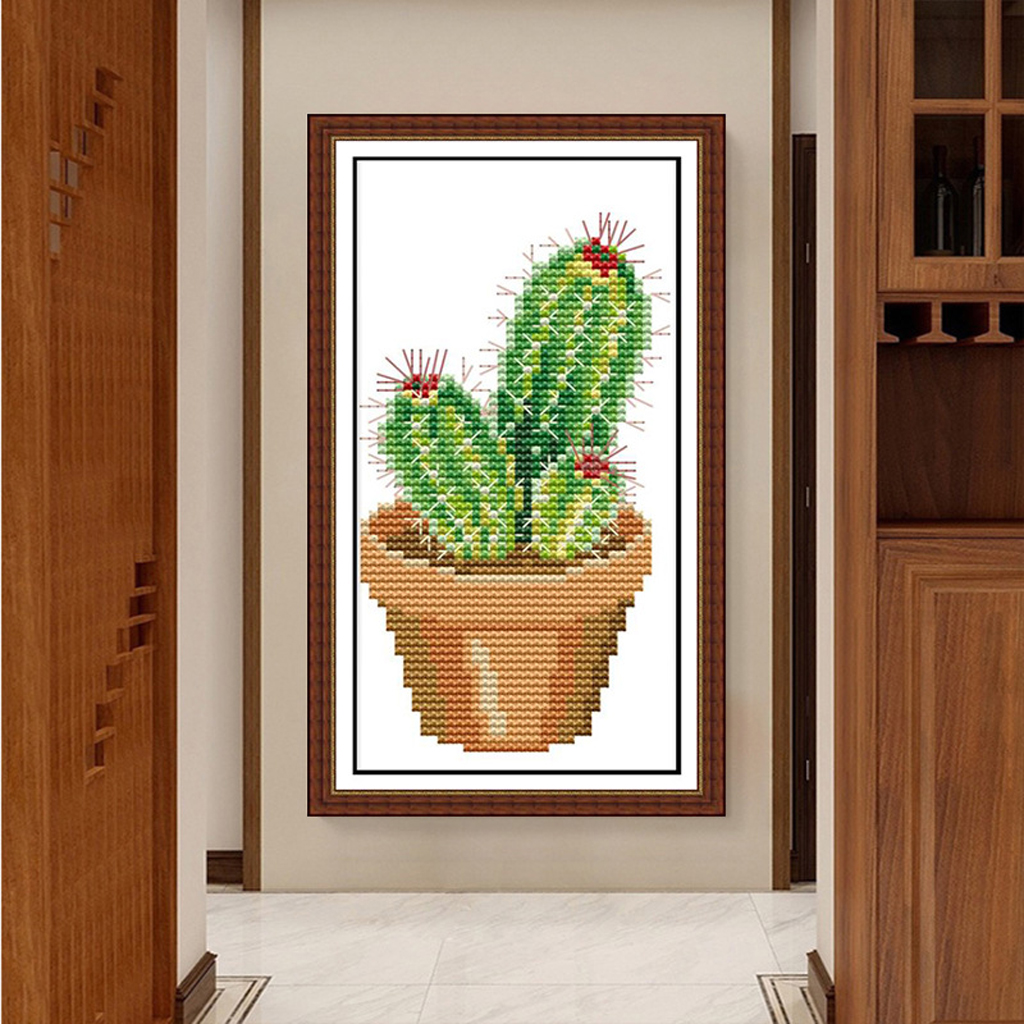 11CT Counted Cross Stitch Kits, Cross-Stitch Pattern DIY Hand Needlework Kit Printed Embroidery Kit Set Home Decoration- Cactus