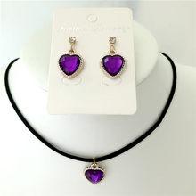 Nueva moda nupcial boda cristal melocotón corazón colgante collar/pendientes conjuntos de joyería para mujeres simulación perla joyería(China)