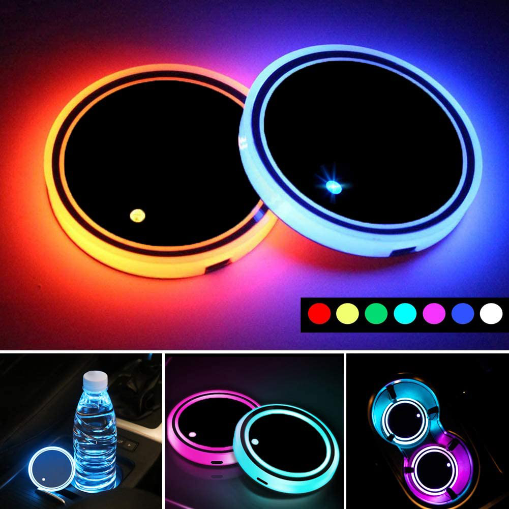 MASO 2x Colorful LED Car Cup Holder Pad Mat With Waterproof Bottle Drinks Coaster Built-in Lamp Mini USB Rechargeable Car Interior Atmosphere Light LED Cup Holder Light with remote control