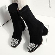 Morazora Plus Size 34-43 Mới Chính Hãng Da Bò Giả Da Lộn Căng Mắt Cá Chân Giày Nữ Ren Dày Cao Cấp giày Boots(China)
