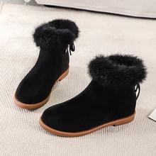 Kadın çizmeler ayak bileği kısa çizmeler akın sivri burun kare topuklu kış peluş patik kadın 2019 üzerinde kayma Martin çizmeler siyah bej(China)
