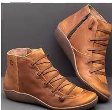 YIBING1517 Neue 2019 Herbst Winter Retro Frauen Stiefel Fashion Echtes Leder Stiefeletten Zapatos De Mujer Wram Botas(China)