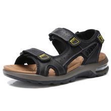 Мужские сандалии из натуральной кожи; высокое качество; большие размеры; мужские пляжные сандалии; модные сандалии на воздушной подушке; ды...(China)